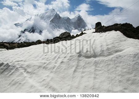 Snowcovered high mountain in Himalayan