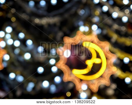 Abstract background of blurry christmas lights and decorations