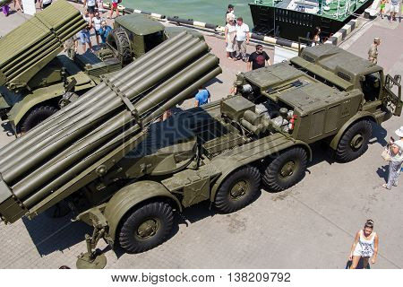 Odesa, Ukraine - July 03, 2016: Exhibition of military vehickles 'Uragan' and 'Grad' and others during celebration NAVY forces day