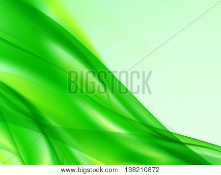 Abstract background with curved, wavy yellow green lines in the corner of the image