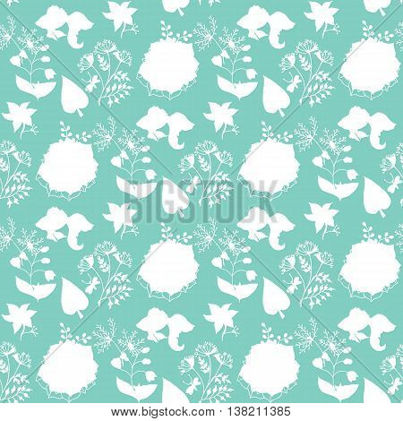 Hand-drawn Illustrations. Beautiful Background With Ethnic Pattern. Plants On A Turquoise Background