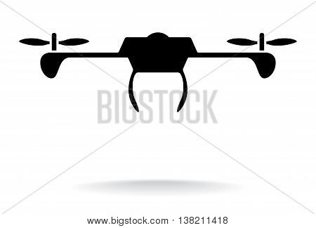 Drone Silhouette. Silhouette Vector Illustration Of A Drone