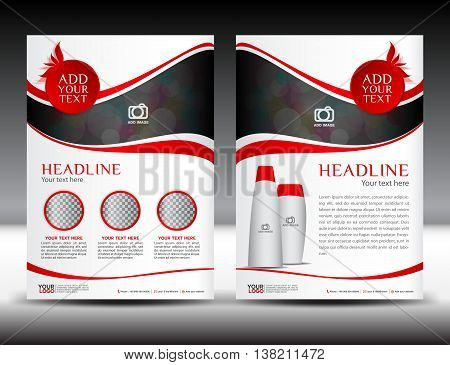 Red business brochure flyer template design newsletter magazine ads cosmetics catalog advertisement leaflet poster annual report cover template booklet