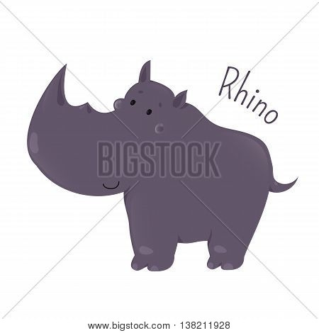 Rhino isolated. Rhinoceros. One of five species of odd-toed ungulates in the family Rhinocerotidae. Part of series of cartoon savannah animal species. Sticker for kids. Child fun pattern icon. Vector