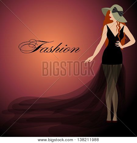 girl with red hair black dress red lips. Hat with bow. Fashion style