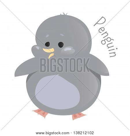Penguin. Sphenisciformes, family Spheniscidae. Group of aquatic, flightless birds living in Southern Hemisphere. Part of series of cartoon sea creature species. Marine animals. Child fun icon. Vector
