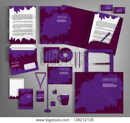 Purple corporate identity template design with spots. Business set stationery, brochure, card, letterhead, catalog, pennants. Suitable for brand advertising