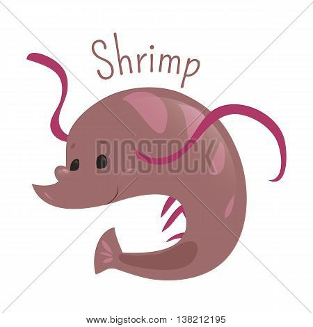 Shrimp isolated on white background. Decapod crustaceans. Caridea and Dendrobranchiata. Part of series of cartoon sea creature species. Marine animals. Sticker for kids. Child fun pattern icon. Vector