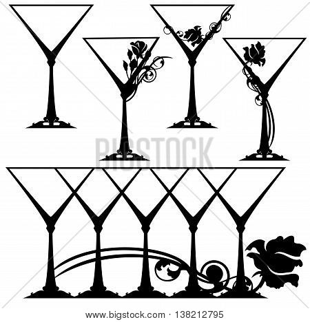 martini glasses black and white design collection - stemware vector set