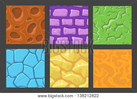 set of pattern for game background, vector stone, wall background textures collection for game