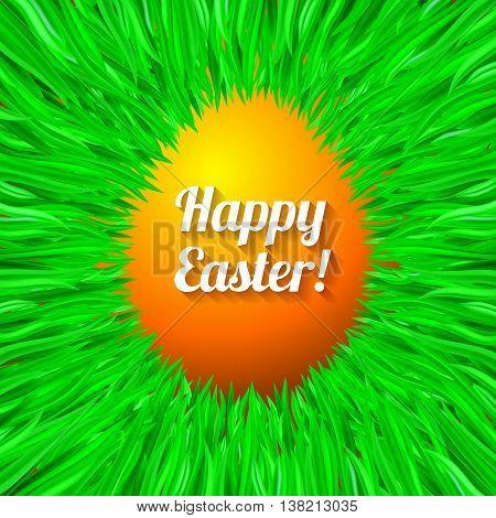 Happy Easter Egg in Orange Greeting Card