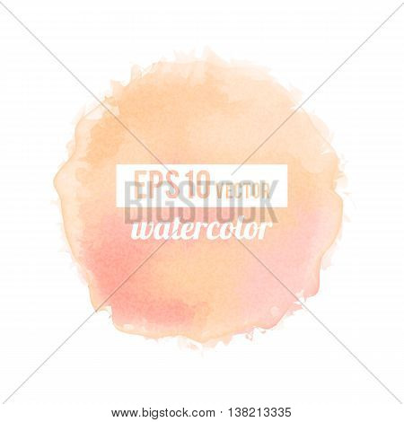 Pinck watercolor-like fully vector round stain isolated on white background. Stain can be used for wallpaper, website background, wrapping paper and so on. Watercolor design.