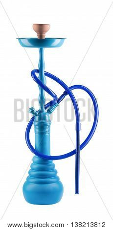 Modern blue hookah isolated on white background. Eastern smokable water pipe smoking on white background. blue hookah with black rubber tube and blue flask isolated on white background.
