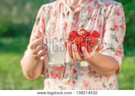Woman Holding A Glass Of Milk, Health Care Concept