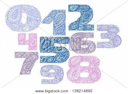 Numbers Decorative Set With A Paisley Zen Doodle Tattoo Ornament