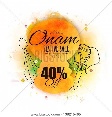 Onam Festive Sale with 40% Off, Creative illustration of Kathakali Dancer Face, Snake Boat and An Elephant, Can be used as Poster, Banner or Flyer design for South Indian Festival celebration.