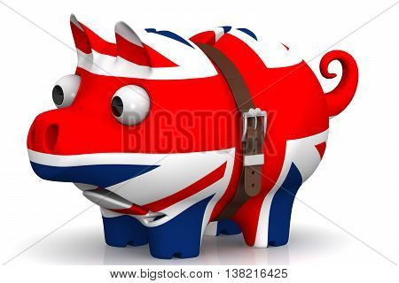 Tightened with a strap pig piggy bank with bulging eyes in the color of the Great Britain flag on a white surface. The concept of economic crisis in United Kingdom. Isolated. 3D Illustration