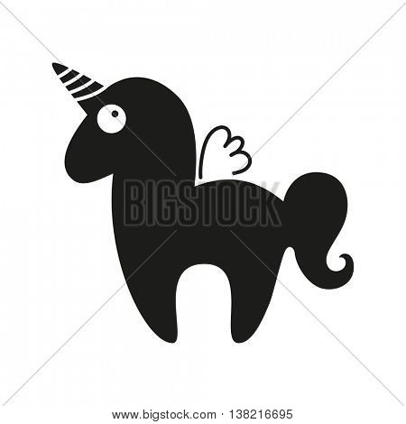 Magic horse with horn and wings. Unicorn silhouette on background. Vector illustration.