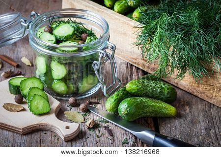 Cucumbers Ready For Pickling With Dill. Homemade Vegetable Canning.