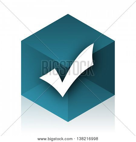 accept blue cube icon, modern design web element