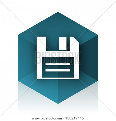disk blue cube icon, modern design web element