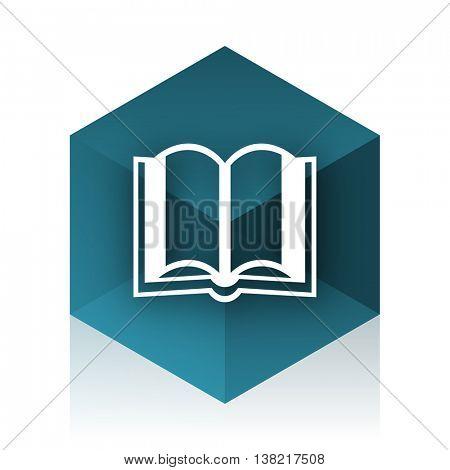book blue cube icon, modern design web element