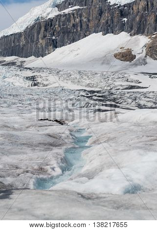 Athabasca Glacier with Columbia Icefield in the Background