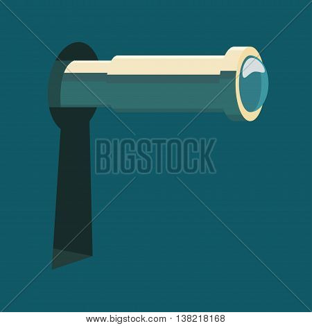 Spyglass in keyhole. Espionage concept vector illustration.