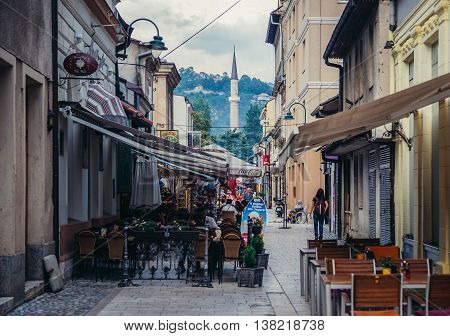 Sarajevo Bosnia and Herzegovina - August 23 2015. One of the streets at old bazaar and the historical and cultural center of the Sarajevo called Bascarsija