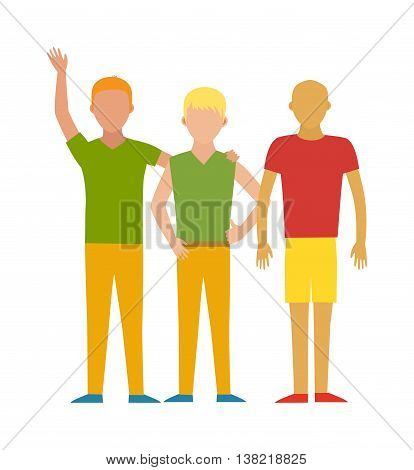 People avatars group icons in flat style communication human together character. Different male faces in office team group of people. Vector illustration group of people. Young friendship icon.