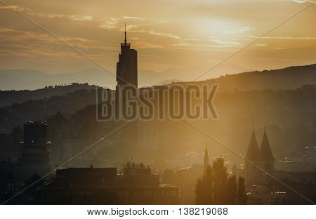Sarajevo Bosnia and Herzegovina - August 24 2015. Evening view of Sarajevo with modern building called Avaz Twist Tower
