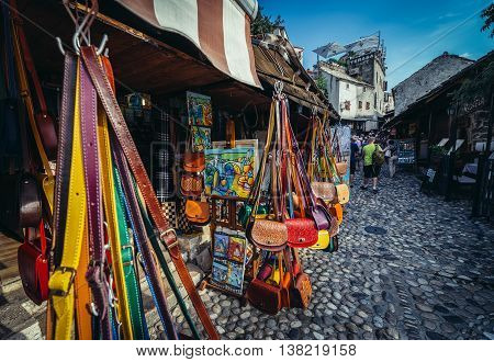 Mostar Bosnia and Herzegovina - August 25 2015. Souvenir shops on the Old Town of Mostar