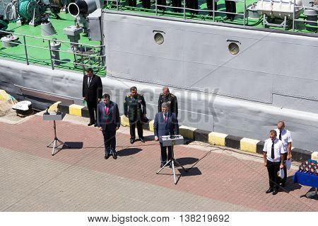 Odesa, Ukraine - July 03, 2016: Ukrainian president Petro Poroshenko at the pier of Odesa's port. Navy day celebration in Odesa