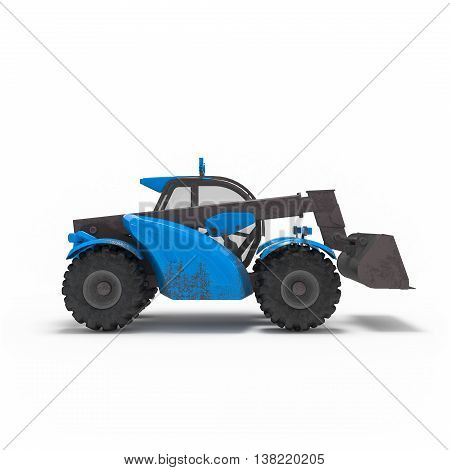 Construction Excavator Side View Isolated 3D Rendering