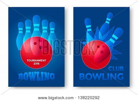 Bowling tournament poster vector template. Bowling ball and skittles modern style illustration.