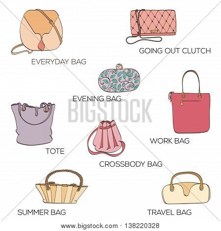 Set of women bags. Icons can be used for holiday cards, shopping invitation, postcard or fashion website banner. Bag shop design. Fashion concept.