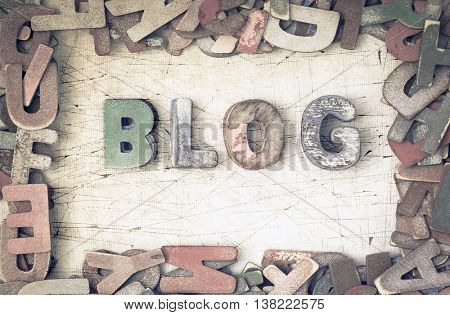 the word blog made from wooden letters