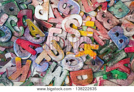 lots of wooden latters bacround image