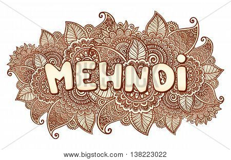 vector mehndi sigh on floral henna tattoo style flowers background