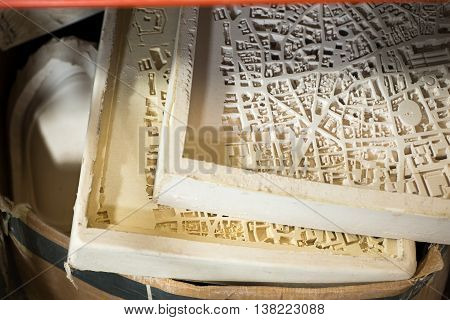 Plaster Molds for 3D City Map Scale Models
