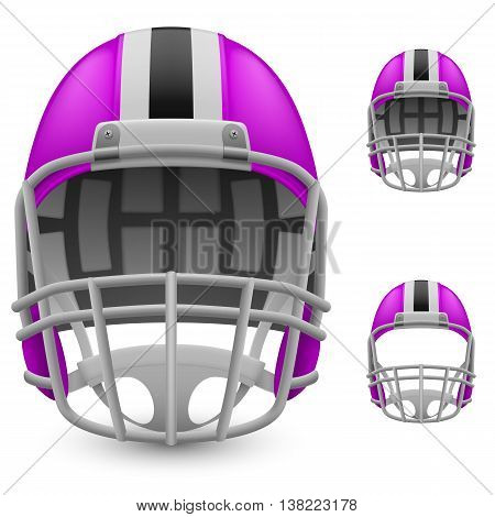 Set of magenta football helmets on a white background