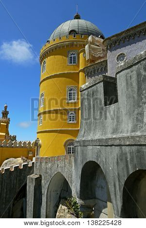 PORTUGAL - 24 AUGUST 2014: Pena palace, Sintra, PORTUGAL.
