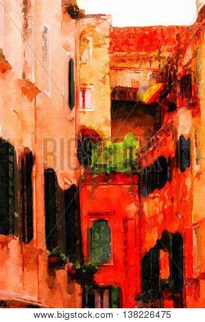 Beautiful Painting Of the architecture along the venice canal
