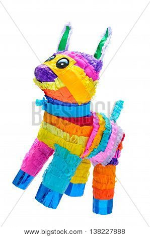 Piñata Mexican traditional crafted toy very popular in posadas and parties white isolated