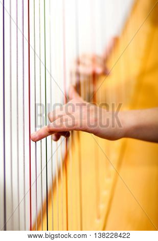 Woman hands playing harp