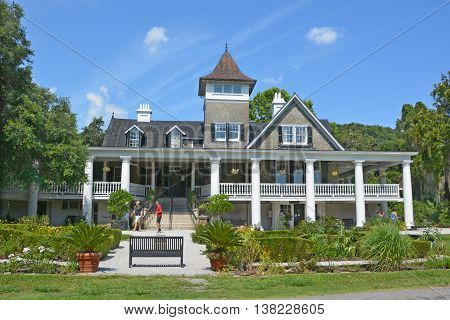 CHARLESTON SC USA 06 25 2016: Magnolia Plantation and Gardens is a historic house with gardens It is one of the oldest plantations in the South, and listed on the National Register of Historic Places.