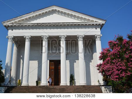 CHARLESTON SOUTH CAROLINA USA JUNE 27 2016: Trinity United Methodist Church began in 1786 as the Cumberland Street (Methodist) Church with 35 white and 23 black members.