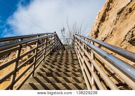 Beach access staircase, view looking up, Ladera Street, Sunset Cliffs, San Diego, California.