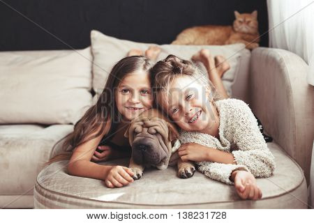 Home portrait of two cute children hugging with ginger cat and puppy of Chinese Shar Pei dog on the sofa against black wall