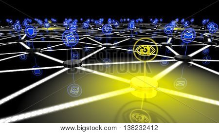 The internet of things network with a glowing yellow node symbolizing omnipresent control and surveillance 3D illustration